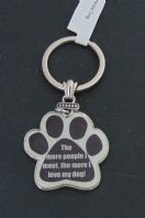 THE MORE PEOPLE I MEET THE MORE I LOVE MY DOG PAW SHAPE METAL KEY RING GIFT..